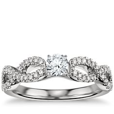 Infinity Twist Micropavé Diamond Engagement Ring in Platinum